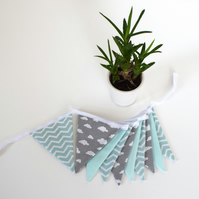 Mint Chevron, Grey Cloud and Mint Mini Bunting
