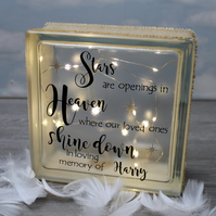 Personalised Memorial Light Up Glass Block - Stars are Openings in Heaven