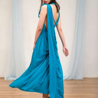 Bright Blue Backless Draped Evening Dress