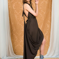 Chocolate Brown Backless Draped Evening Dress