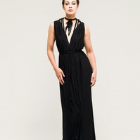Long Black Feather Evening Dress