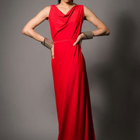 Red Backless Floor Length Evening Dress