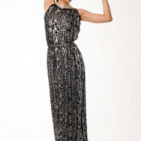 Black and Silver Floor Length Evening Dress