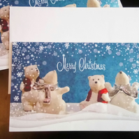 Polar Bears in the Snow - Pack of five cards - Reduced Price