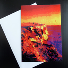 Dark Cliffs - vibrant seascape view greetings card