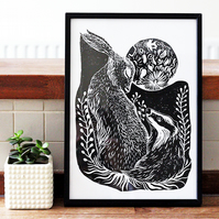 Badger & Hare - Block Print Linocut, Illustration, British Animals, Art Print
