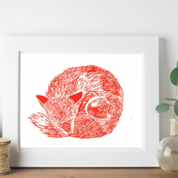 Red Fox Sleeping Original Linocut Block Letterpress Nursery Print Animals A5