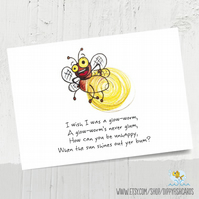 Get well soon postcard, I wish I was a glowworm, just because card, hello card