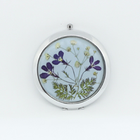 Real flower compact mirror - magnifying for make up
