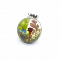 Real mushroom terrarium pendant - with silver chain and gift box