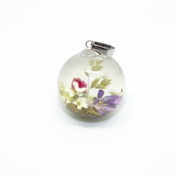 Real flower terrarium pendant - with silver chain and gift box