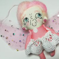 Pink Fairy Godmother, Betty, Hand Embroidered Fairytale Decor