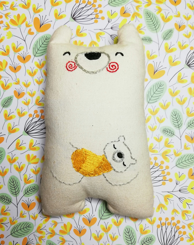 Polar Bear with Hand Embroidered Cub in Gold Yellow