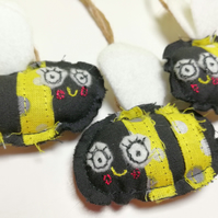 Bee Hangers, Set of Three. Black & Yellow, Machine Embroidered with Felt