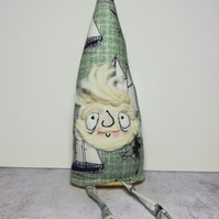 Nautical Gnome, Caspian with Sailboats & Seagull Print & Undyed Wool Beard