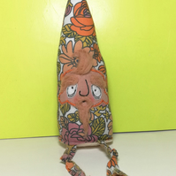 Retro Floral Gnome, Rusty, In Upcycled Fabric