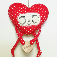 Quirky Hand Embroidered Wonky Heart in Red Polka dots