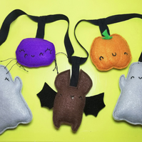 Handmade Halloween Garland with Cute Ghosts, Spider, Bat & Pumpkin