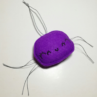 Felt Spider Halloween Hanger in Purple with cute face