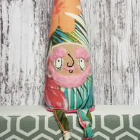 Upcycled Gnome in Tropical Floral Print. Bixby