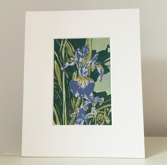 Original Iris reduction lino-cut.