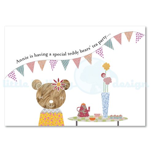 Personalised Teddy Bear Tea Party Birthday Invitations (10 Cards & Envelopes)
