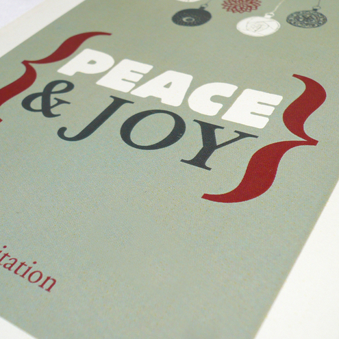 personalised peace and joy christmas party invitation (10 cards & envelopes)