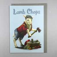 Lamb Chops Card - Animal Pun Card - Funny Birthday Card