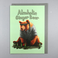 Alcoholic Ginger Bear - Funny Bear Birthday Card - Ginger Beer Greeting Card