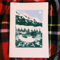 Mountain Landscape Christmas Cards (Original Lino Print)