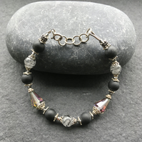 Tourmalated Quartzand Black Onyx beaded bracelet with crystals and silver