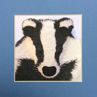Badger, Print of an Original Paper Sculpture in a Black Mount