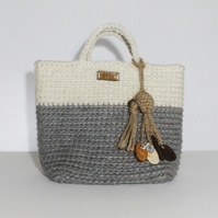 Jute Crochet Tote Bag with Handbag Charm