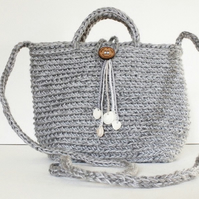 Natural Jute & Cotton Crochet Crossbody Tote Bag Ethical Ecofriendly