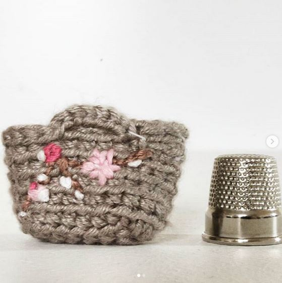 Tiny Miniature Handbag Dollhouse, Kawaii, OOAK, Amigurumi, 1:12 Cherry Blossom