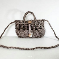 Natural Jute & Cotton Crochet Crossbody Basket Handbag Ethical Ecofriendly