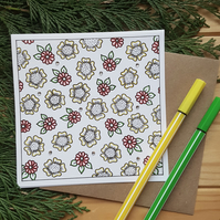 Hand drawn flower wall paper greetings card
