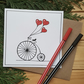 Hand drawn love heart penny farthing