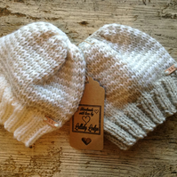 Alpaca & Wool Mix Unisex Hat Pack (2 hats) Hand knitted baby beanies 0-6 Months