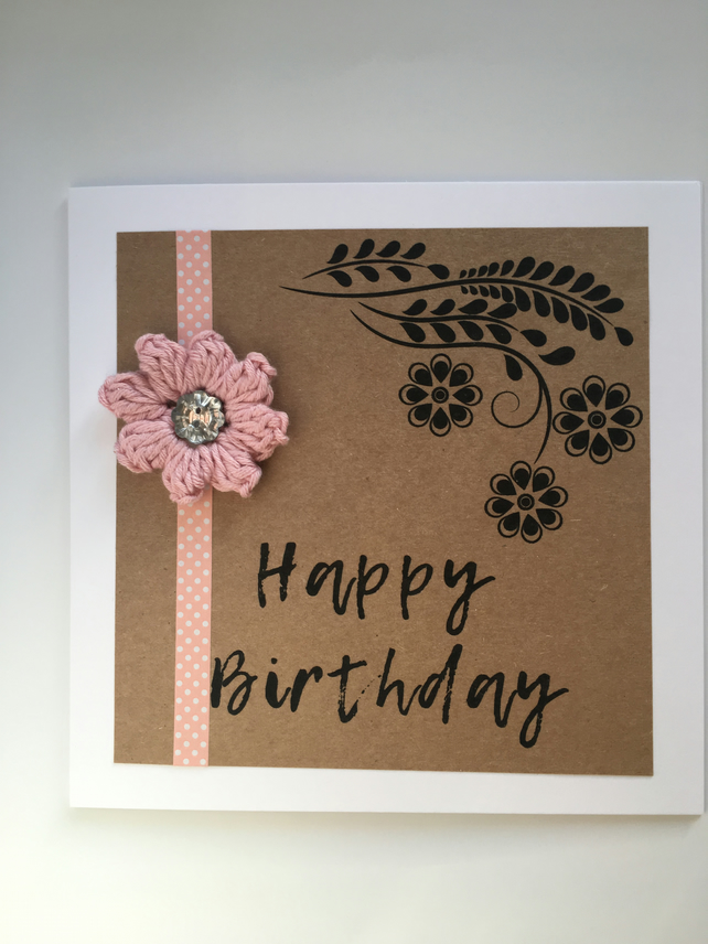 Handmade Birthday Card - Embellished with tiny crochet flower and sparkly button