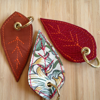 Hand-crafted leather and William Morris fabric leaf keyring