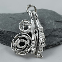 Handcrafted Solid Sterling Silver Waves and Swirls Pendant