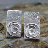Reticulated Rectangle Spiral studs with Rustic Texture