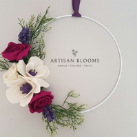 Contemporary Artisan Blooms Felt Flower Wreath - 100% Merino Wool