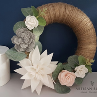 Contemporary Artisan Blooms Felt Flower Wreath - 100% Merino Wool Felt