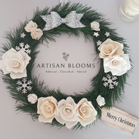 Christmas Felt Flower Wreath 100% Merino Wool Felt