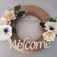 Beautiful Artisan Blooms Felt Flower Wreath - 100% Merino Wool Felt