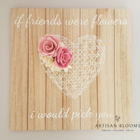 Friends Gift - Artisan Blooms Felt Flower Wall Plaque - 100% Merino Wool Felt