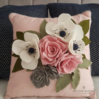 Contemporary Artisan Blooms Felt Flower Cushion  - 100% Merino Wool Felt
