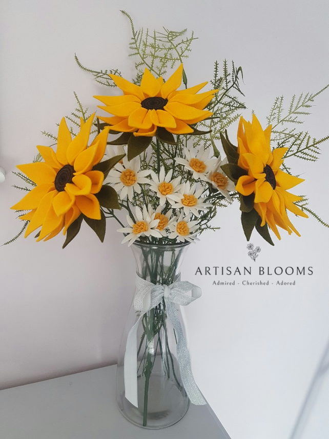 Extra Large Artisan Blooms Felt Flower Arrangement  - 100% Merino Wool Felt